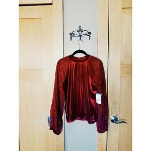 Free People Velvet Lace Top